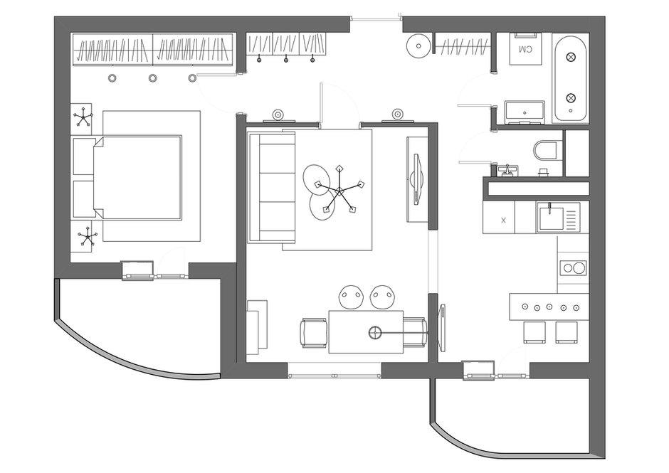 Фотография: Планировки в стиле , Квартира, Проект недели, ИКЕА, Подмосковье, Московская область, 2 комнаты, 40-60 метров, Монолитно-кирпичный, Анна Морозова, ЖК «Европейский» – фото на INMYROOM