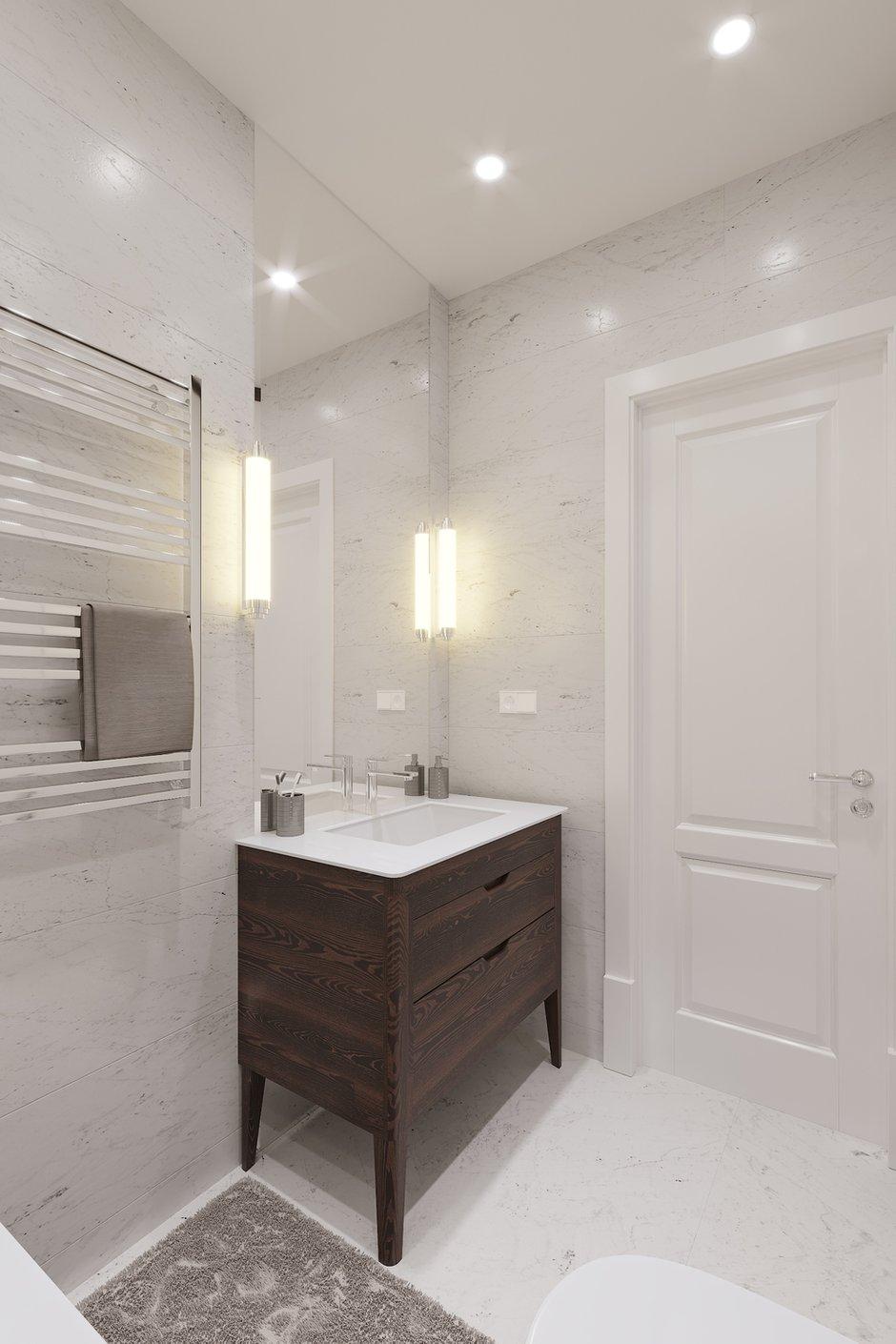 Фотография: Ванная в стиле Современный, Квартира, Проект недели, Санкт-Петербург, Монолитный дом, 3 комнаты, Более 90 метров, Эльжбета Чегарова – фото на INMYROOM