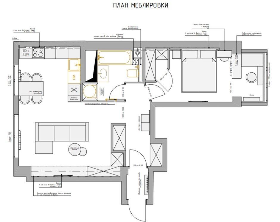 Фотография: Планировки в стиле , Современный, Квартира, Проект недели, Москва, Панельный дом, 2 комнаты, 40-60 метров, Светлана Капустина – фото на INMYROOM