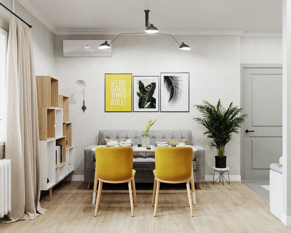 Фотография: Кухня и столовая в стиле Скандинавский, Гостиная, Квартира, Проект недели, 1 комната, до 40 метров, Тольятти – фото на INMYROOM