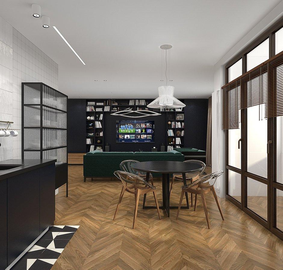 Фотография: Кухня и столовая в стиле Современный, Квартира, Проект недели, Москва, Виктория Золина, 2 комнаты, 60-90 метров, Монолитно-кирпичный – фото на INMYROOM