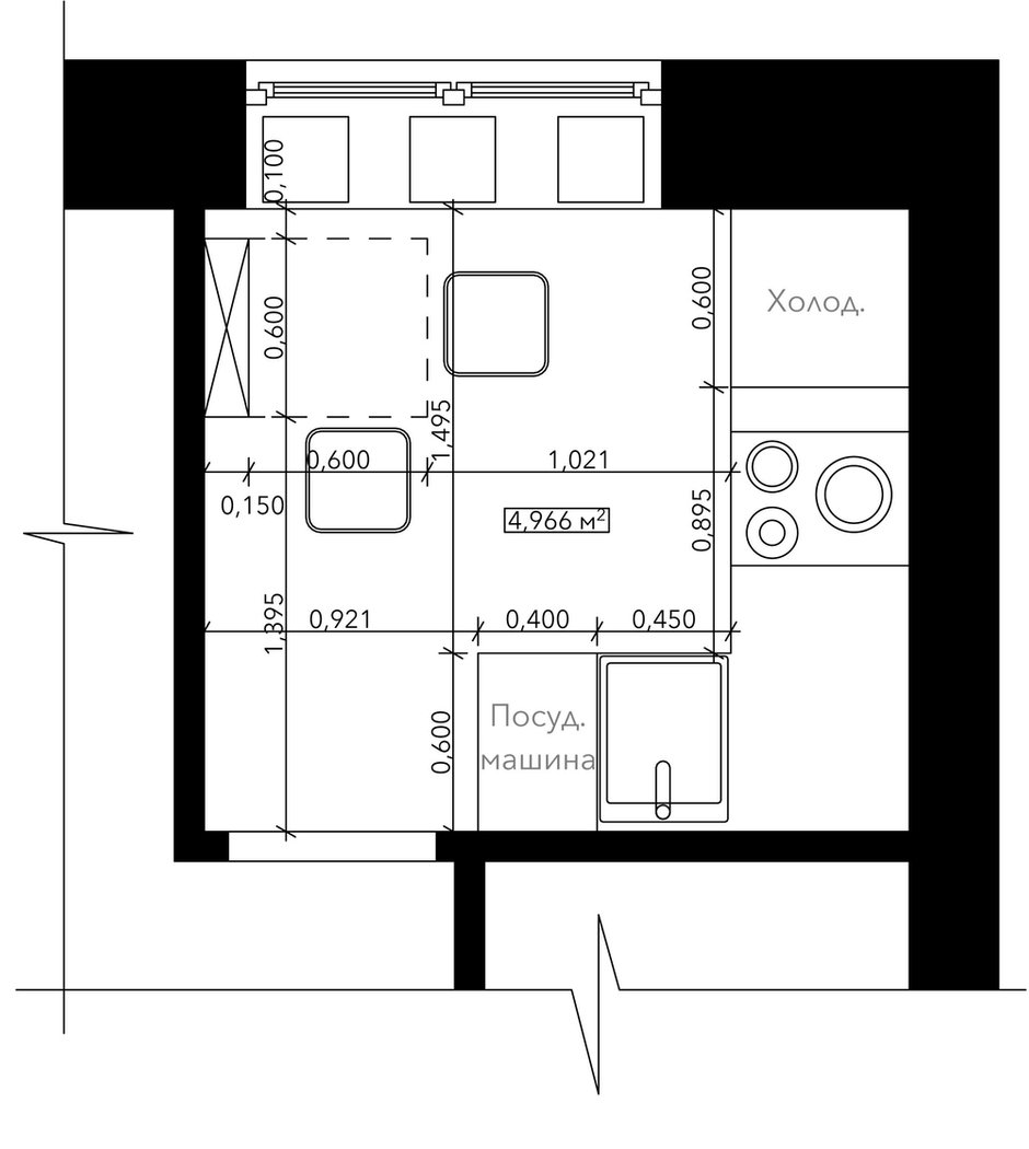 Фотография: Планировки в стиле Эклектика, Кухня и столовая, Перепланировка, Евгения Матвеенко, FlatsDesign, Надежда Каппер, Хрущевка, 1 комната, до 40 метров, I-515/5, дизайн-баттл – фото на INMYROOM