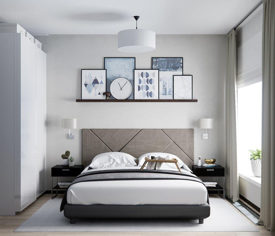 Фотография: Спальня в стиле Минимализм, Квартира, Проект недели, Москва, 2 комнаты, 40-60 метров, Ксения Коновалова, ЖК «Опалиха О3» – фото на INMYROOM