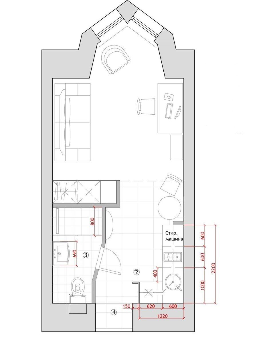 Фотография: Планировки в стиле , Эклектика, Малогабаритная квартира, Квартира, Студия, Проект недели, Санкт-Петербург, Анастасия Киселева, Кирпичный дом, до 40 метров – фото на INMYROOM