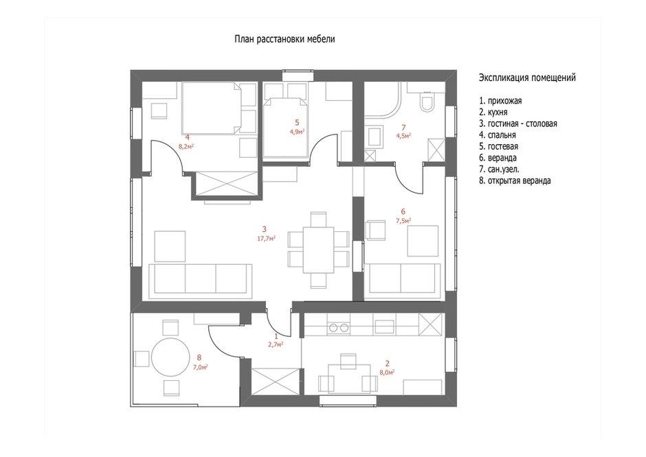 План дома с расстановкой мебели