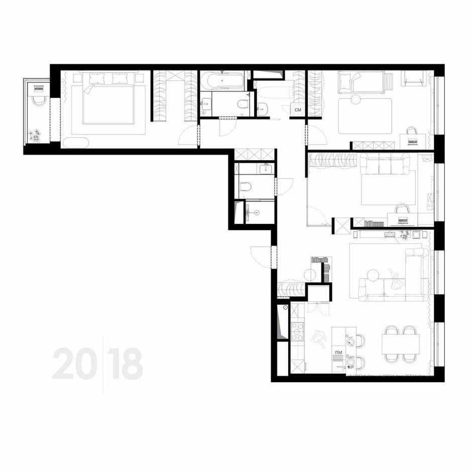 Фотография: Планировки в стиле , Современный, Квартира, Проект недели, Москва, 4 и больше, Более 90 метров, Студия 20:18 – фото на INMYROOM