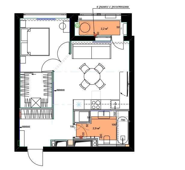 Фотография: Планировки в стиле , Современный, Квартира, Проект недели, Москва, 2 комнаты, 40-60 метров, Icon Interiors, Инга Моисеева – фото на INMYROOM