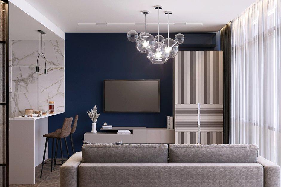 Весь проект создан в оттенках синего цвета — любимого цвета заказчика.