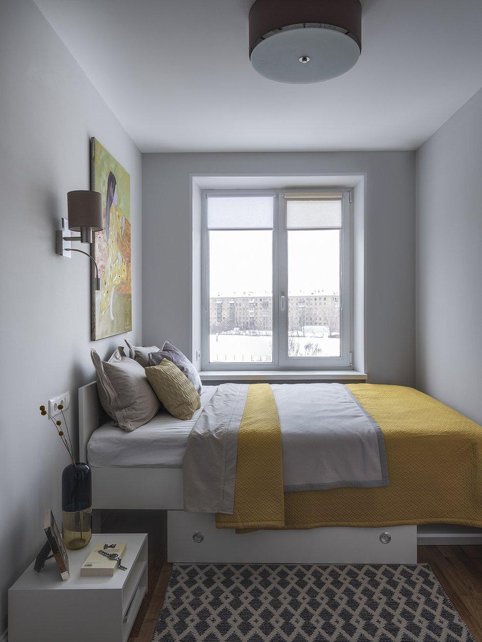Фотография: Спальня в стиле Современный, Квартира, Проект недели, Москва, Евгения Матвеенко, FlatsDesign, Хрущевка, 2 комнаты, 40-60 метров – фото на INMYROOM