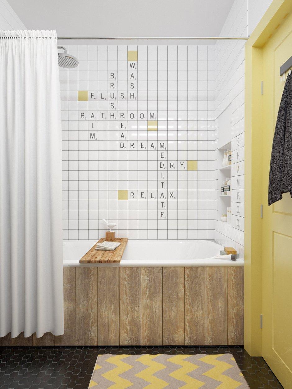 Фотография: Ванная в стиле Скандинавский, Эклектика, Малогабаритная квартира, Квартира, Планировки, Мебель и свет – фото на INMYROOM