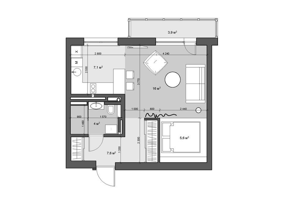 Фотография:  в стиле , Квартира, Студия, Проект недели, Новосибирск, Art-Ugol, новостройка, Монолитный дом, до 40 метров, 40-60 метров – фото на INMYROOM