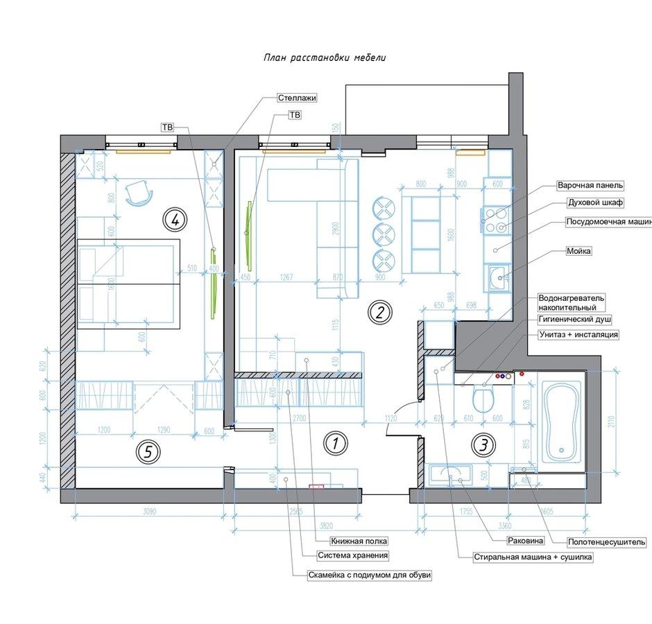 Фотография: Планировки в стиле , Лофт, Минимализм, Проект недели, Санкт-Петербург, 2 комнаты, 60-90 метров, Dinamika Architects – фото на INMYROOM