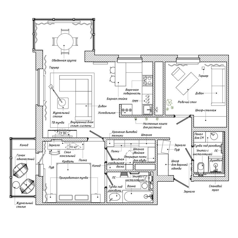 Фотография: Планировки в стиле , Эклектика, Проект недели, Санкт-Петербург, Эко, 3 комнаты, 60-90 метров, I am design studio – фото на INMYROOM