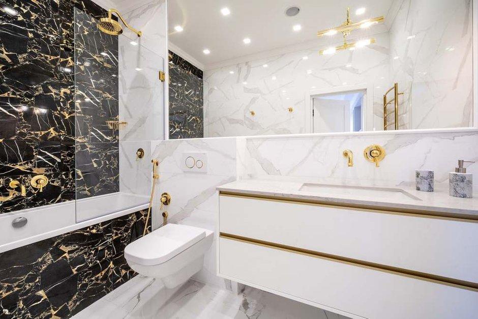 Фотография: Ванная в стиле Классический, Современный, Кухня и столовая, Гостиная, Спальня, Квартира, Белый, Проект недели, Черный, Бежевый, Более 90 метров, ПРЕМИЯ INMYROOM – фото на INMYROOM