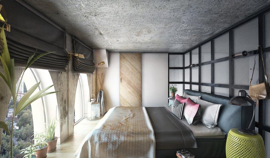 Фотография: Спальня в стиле Лофт, Квартира, Проект недели, Москва, ToTaste Studio, Монолитный дом, 4 и больше, 60-90 метров, ЖК «Соколиный форт» – фото на INMYROOM
