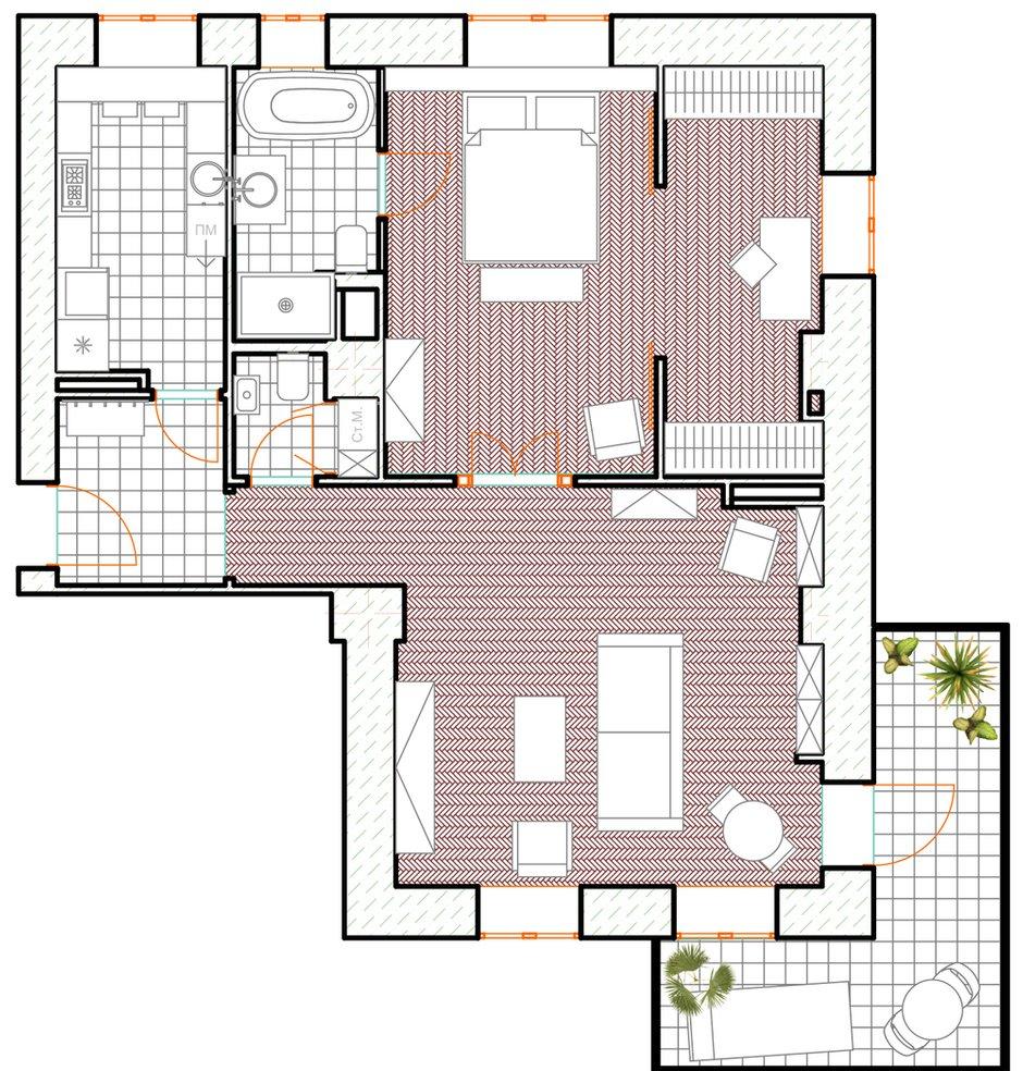 Фотография: Планировки в стиле , Современный, Эклектика, Квартира, Проект недели, Москва, Кирпичный дом, 2 комнаты, 60-90 метров, Манана Хучуа – фото на INMYROOM