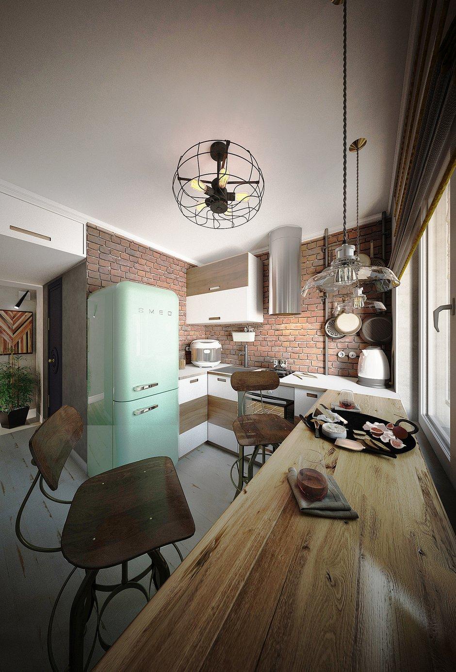 Фотография: Кухня и столовая в стиле Лофт, Малогабаритная квартира, Квартира, Московская область, II-49, Панельный дом, 2 комнаты, 40-60 метров, Диана Пономарева – фото на INMYROOM