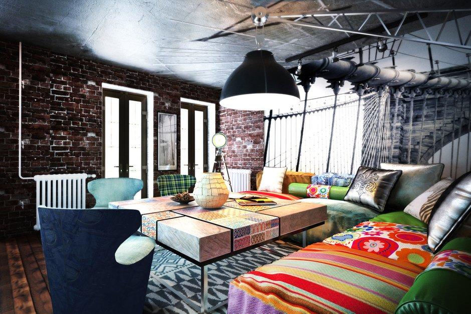 Фотография: Гостиная в стиле Лофт, Эклектика, Квартира, Дома и квартиры – фото на INMYROOM