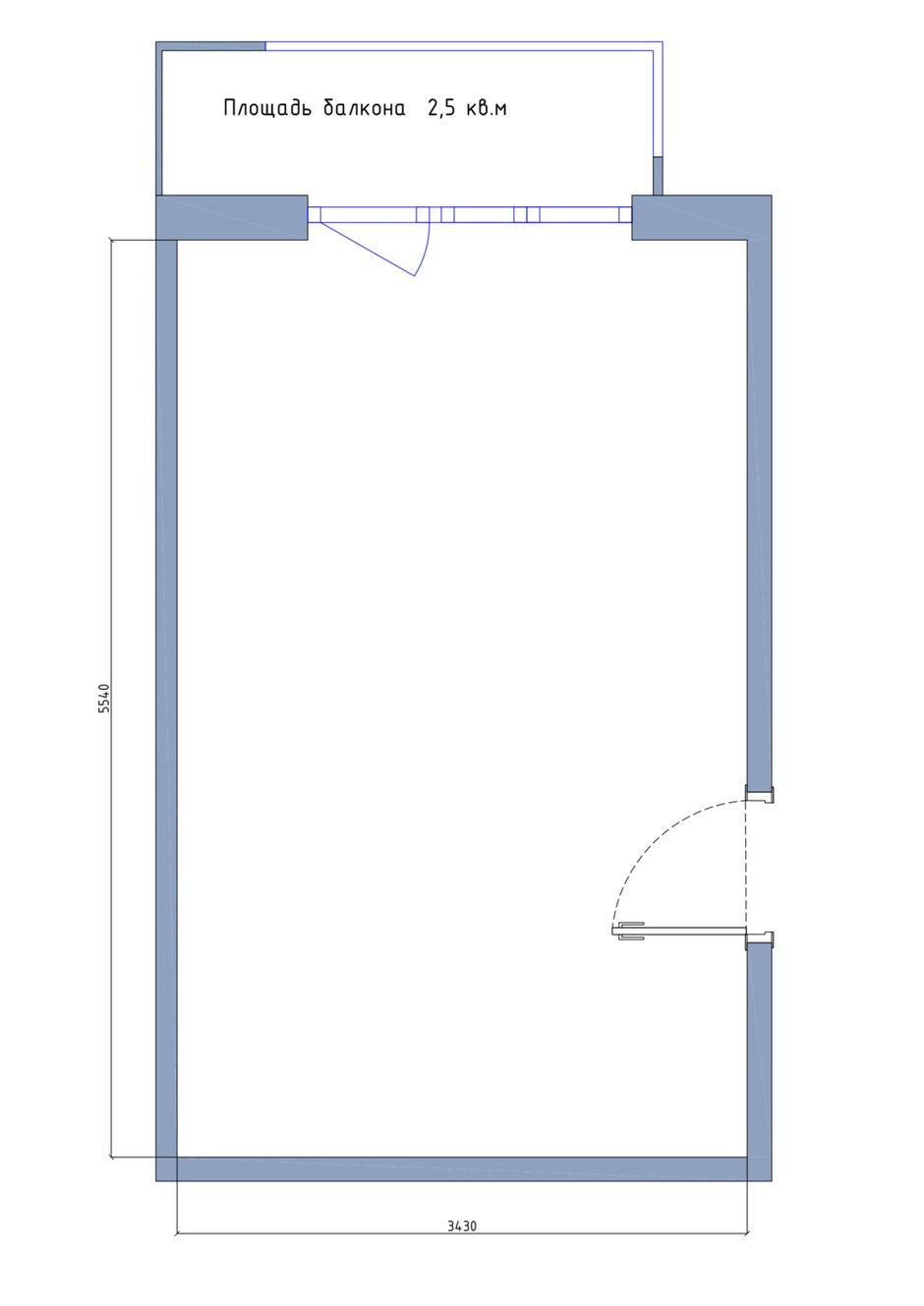 Планировка комнаты площадью 19 кв. м в однокомнатной квартире 40,3 кв. м в панельном доме серии П-44Т