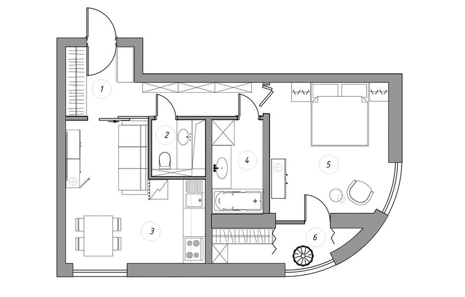 Фотография: Планировки в стиле , Современный, Квартира, Проект недели, Санкт-Петербург, 2 комнаты, 40-60 метров, Олеся Соловьева, Александра Чхетиани – фото на INMYROOM