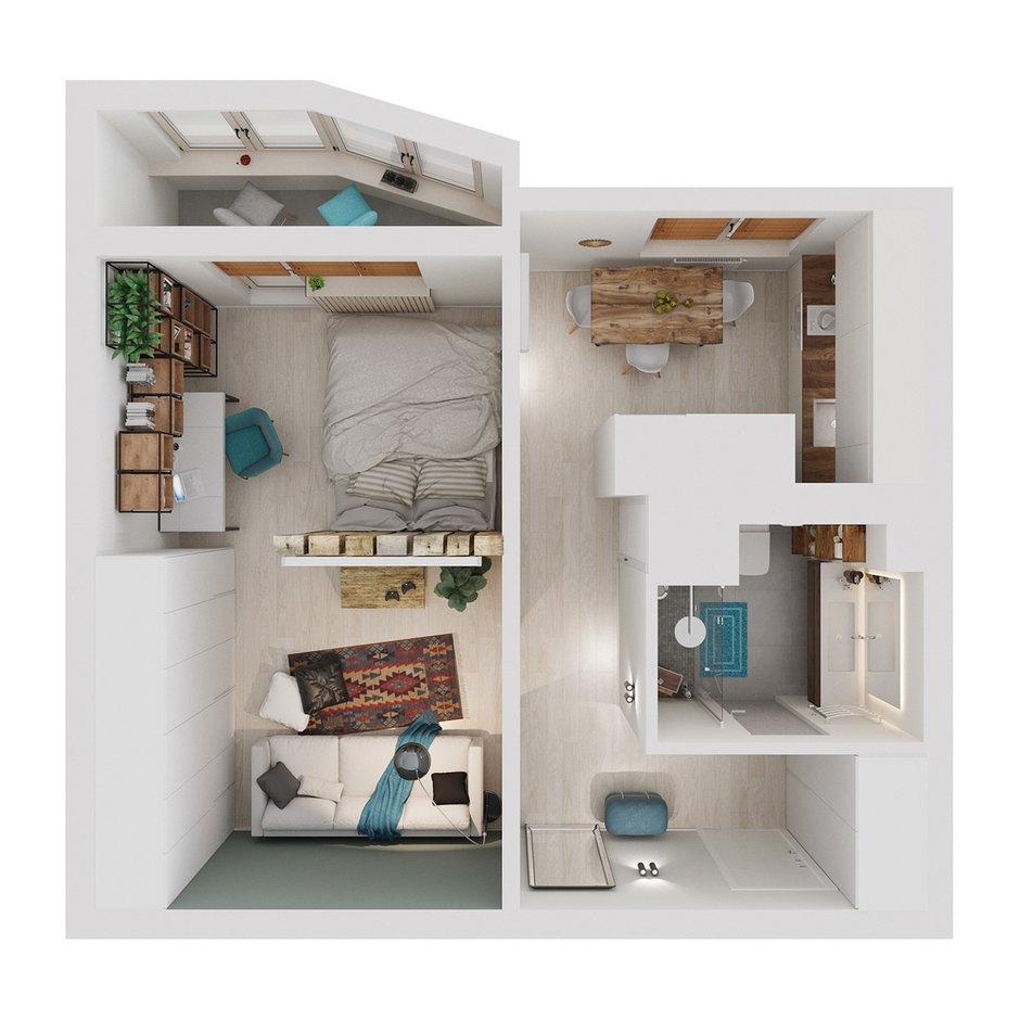 Фотография: Планировки в стиле , Квартира, Проект недели, Москва, Оксана Цымбалова, П-44, 1 комната, 40-60 метров – фото на INMYROOM