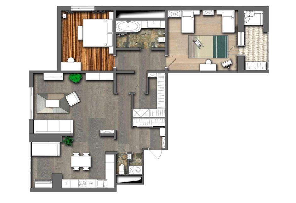 Фотография: Планировки в стиле , Современный, Квартира, Проект недели, Москва, 3 комнаты, 60-90 метров, Анна Никитина – фото на INMYROOM