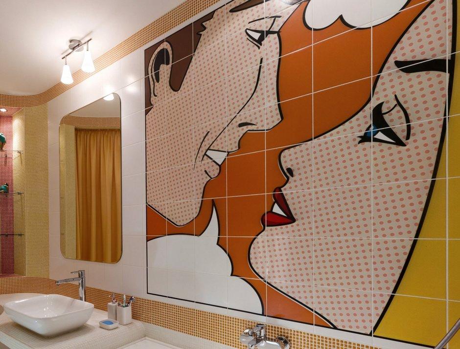 Фотография: Ванная в стиле Современный, Малогабаритная квартира, Интерьер комнат, Проект недели, Поп-арт – фото на InMyRoom.ru