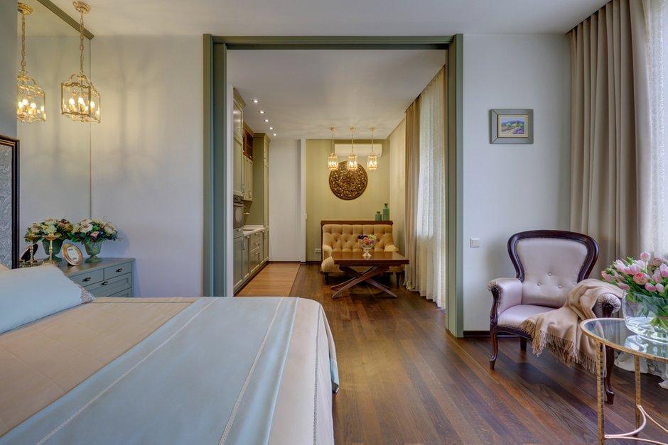 Фотография: Спальня в стиле Классический, Современный, Квартира, Студия, Проект недели, Москва, 40-60 метров, Монолитно-кирпичный, студия «Энигма» – фото на INMYROOM