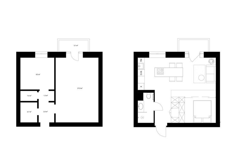 Фотография: Планировки в стиле , Современный, Квартира, Студия, Минимализм, Проект недели, Киев, Сталинка, Кирпичный дом, до 40 метров, 40-60 метров, U Concept – фото на INMYROOM