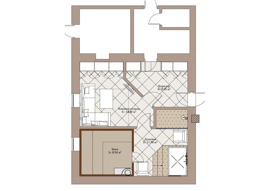 План бани и комнаты отдыха с расстановкой мебели