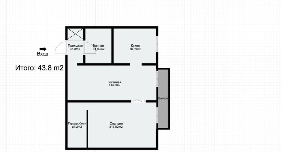 Фотография: Планировки в стиле , Скандинавский, Квартира, Проект недели, двухкомнатная квартира, Герой InMyRoom, Казахстан, Хрущевка – фото на INMYROOM