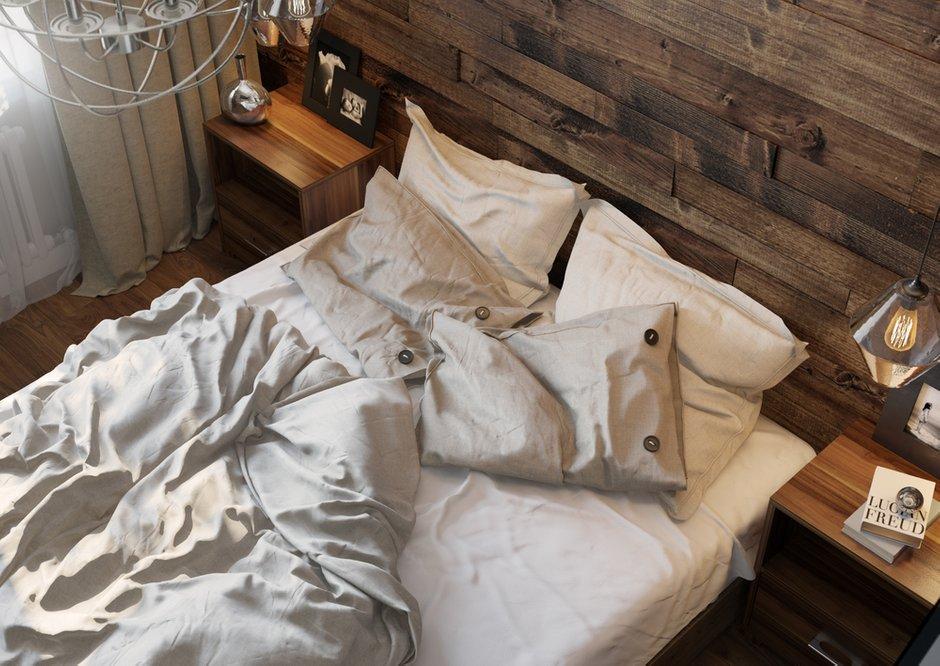 Фотография: Спальня в стиле Современный, Эклектика, Квартира, Проект недели, Одинцово, без перепланировки, Старый фонд, Denew Interior Studio, Кирпичный дом, 3 комнаты, 60-90 метров – фото на INMYROOM
