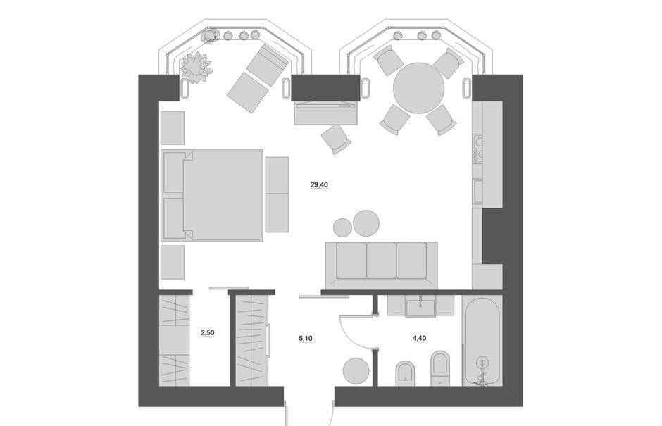 Фотография: Планировки в стиле , Лофт, Квартира, Студия, Проект недели, Москва, Юлия Чернова, Кирпичный дом, Монолитный дом, 40-60 метров – фото на INMYROOM