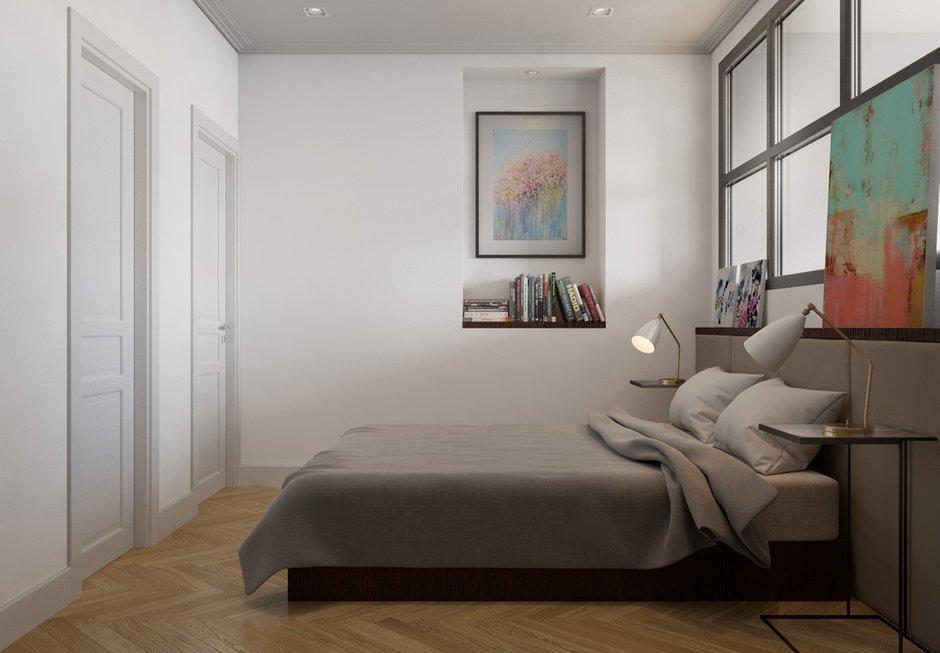 Фотография:  в стиле , Классический, Современный, Эклектика, Квартира, Flos, Gubi, Белый, Проект недели, Москва, Серый, Коричневый, Philips, Перегородки, Vibia, Manders, Cosmorelax, кухня-гостиная, TopCer, Aster, FonBureau, если в комнате нет окна, комната без окна, идеи для комнаты без окна, Centrsvet, кухня-гостиная со входами в спальни, обустройство отдельной гардеробной, спальня с гардеробом, интерьер кабинета, кухня-гостиная дизайн, сценарии освещения, гардеробная в квартире, покрытие паркет, как оформить трехкомнатную квартиру, дизайн трехкомнатной квартиры, спальня без окна, Breuer, «Бобр-паркет» – фото на INMYROOM