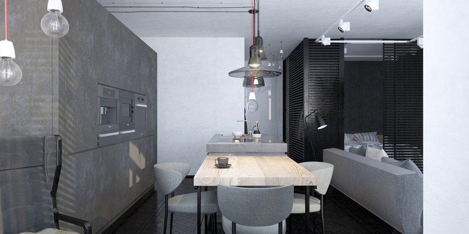 Фотография: Кухня и столовая в стиле Лофт, Квартира, Студия, Проект недели, Татьяна Шишкина, 40-60 метров, Монолитно-кирпичный, ЖК «Тринити» – фото на INMYROOM