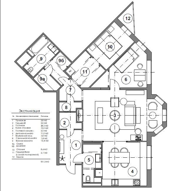 Фотография: Планировки в стиле , Квартира, Проект недели, Москва, Ирина Крашенинникова, 3 комнаты, Более 90 метров, Монолитно-кирпичный – фото на INMYROOM
