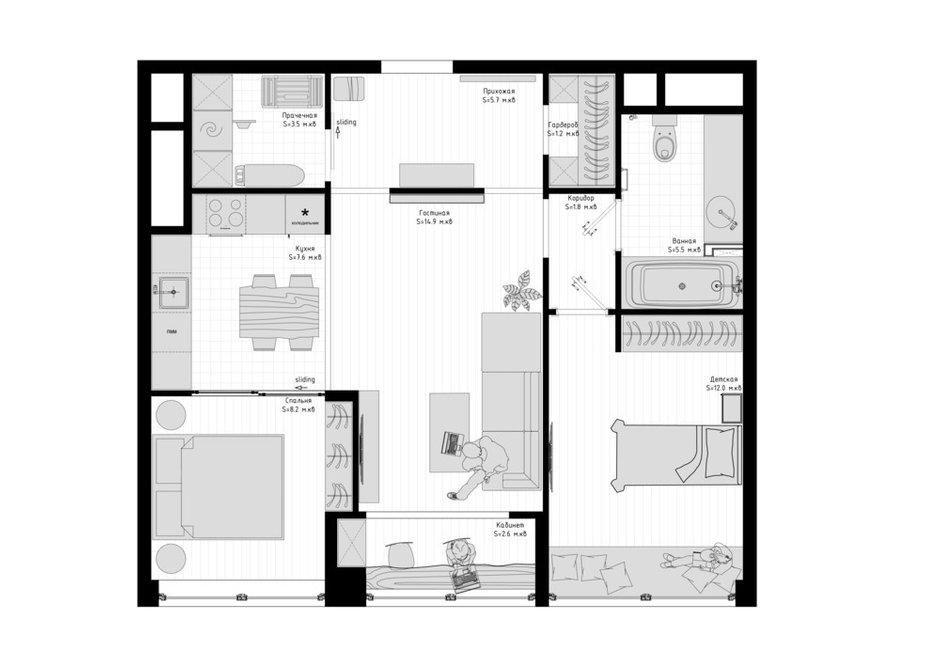 Фотография: Планировки в стиле , Восточный, Квартира, Проект недели, Москва, Эко, 3 комнаты, 60-90 метров, AD-Home – фото на INMYROOM