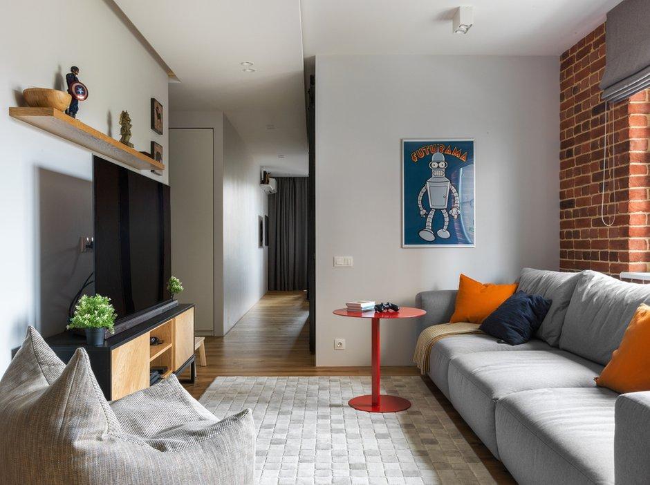 Фотография: Гостиная в стиле Лофт, Современный, Квартира, Проект недели, Geometrium, Монолитный дом, 2 комнаты, 60-90 метров, ЖК «Сколковский» – фото на INMYROOM