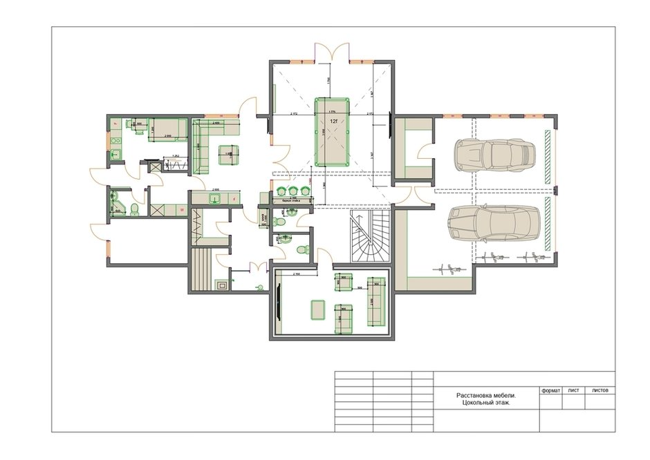 План с расстановкой мебели, цокольный этаж