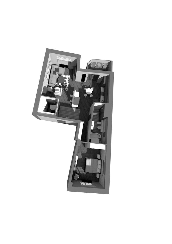 Фотография: Планировки в стиле Современный, Лофт, Квартира, Проект недели, Москва, Диана Мальцева, новостройка, Монолитный дом, 2 комнаты, 60-90 метров – фото на INMYROOM