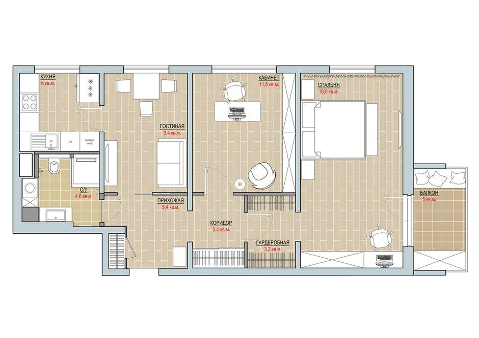 Фотография: Планировки в стиле , Квартира, Перепланировка, II-49, Панельный дом, 4 и больше, 60-90 метров, SOVA Interiors – фото на INMYROOM