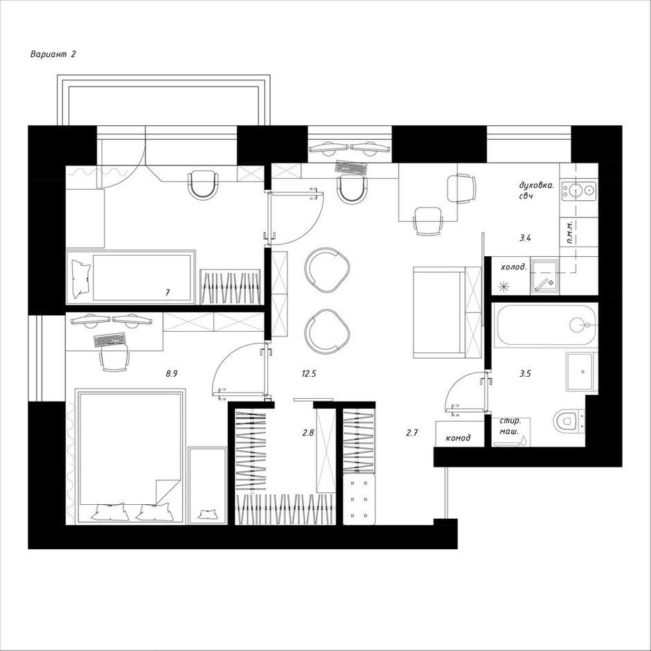 Фотография:  в стиле , Квартира, Перепланировка, Москва, Никита Зуб, Хрущевка, 3 комнаты, 40-60 метров, планировочная среда – фото на InMyRoom.ru