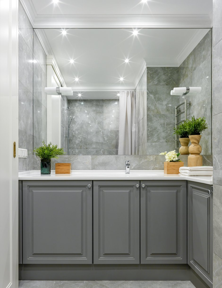 Фотография: Ванная в стиле Современный, Классический, Квартира, Проект недели, Москва, 2 комнаты, 3 комнаты, 60-90 метров, Монолитно-кирпичный – фото на INMYROOM