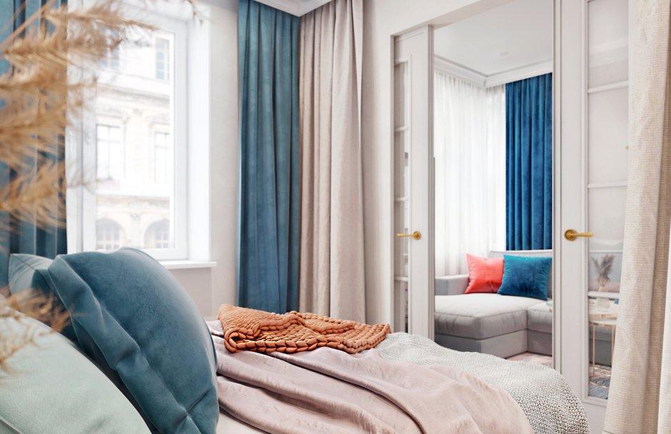 Фотография: Спальня в стиле Современный, Квартира, Проект недели, Красногорск, 1 комната, до 40 метров, 40-60 метров, Алеся Котова – фото на INMYROOM