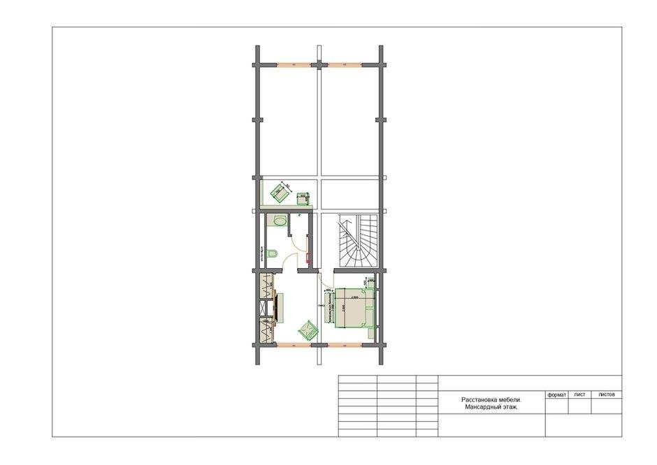 План с расстановкой мебели, мансардный этаж