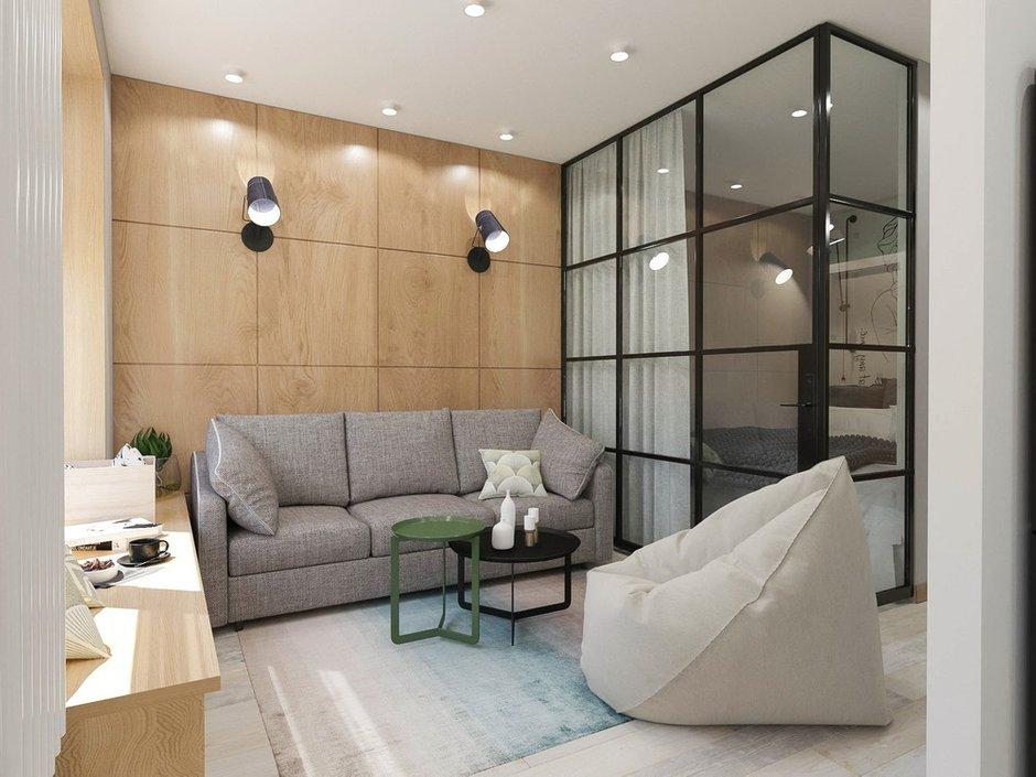 Фотография: Гостиная в стиле Современный, Квартира, Проект недели, Зеленый, Бежевый, Серый, 60-90 метров, ПРЕМИЯ INMYROOM, Bilbao Design – фото на INMYROOM