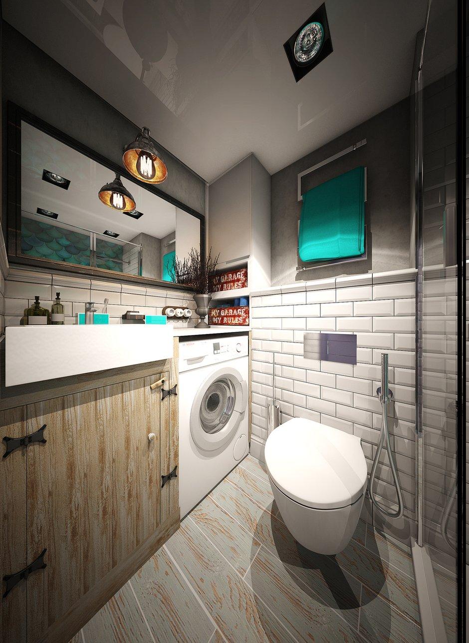 Фотография: Ванная в стиле Лофт, Малогабаритная квартира, Квартира, Московская область, II-49, Панельный дом, 2 комнаты, 40-60 метров, Диана Пономарева – фото на INMYROOM
