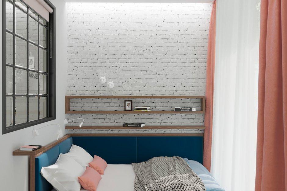 Фотография: Спальня в стиле Скандинавский, Современный, Малогабаритная квартира, Квартира, Проект недели, Москва, Монолитный дом, 2 комнаты, до 40 метров, Тор-Ард – фото на INMYROOM