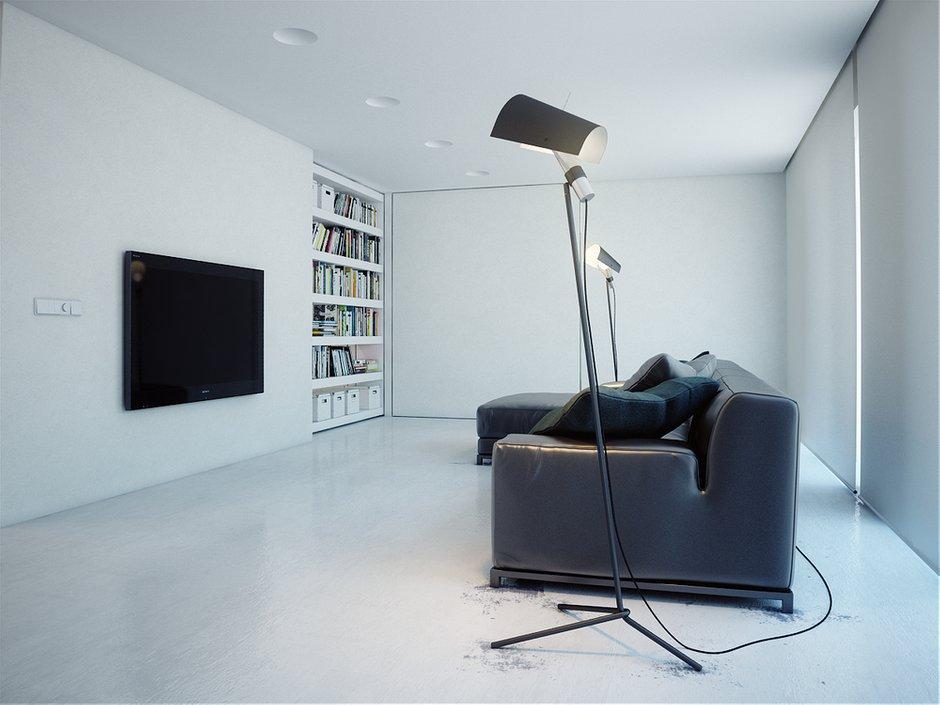 Фотография: Гостиная в стиле Современный, Хай-тек, Квартира, Цвет в интерьере, Дома и квартиры, Белый – фото на INMYROOM