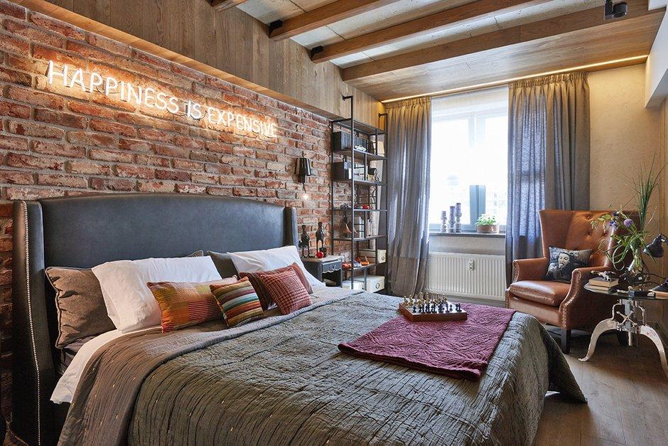 Фотография: Спальня в стиле Лофт, Квартира, Проект недели, Москва, Ольга Райская, Монолитный дом, 2 комнаты, 60-90 метров – фото на INMYROOM